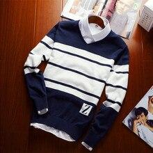 Мужской повседневный полосатый свитер, пуловер, свитер