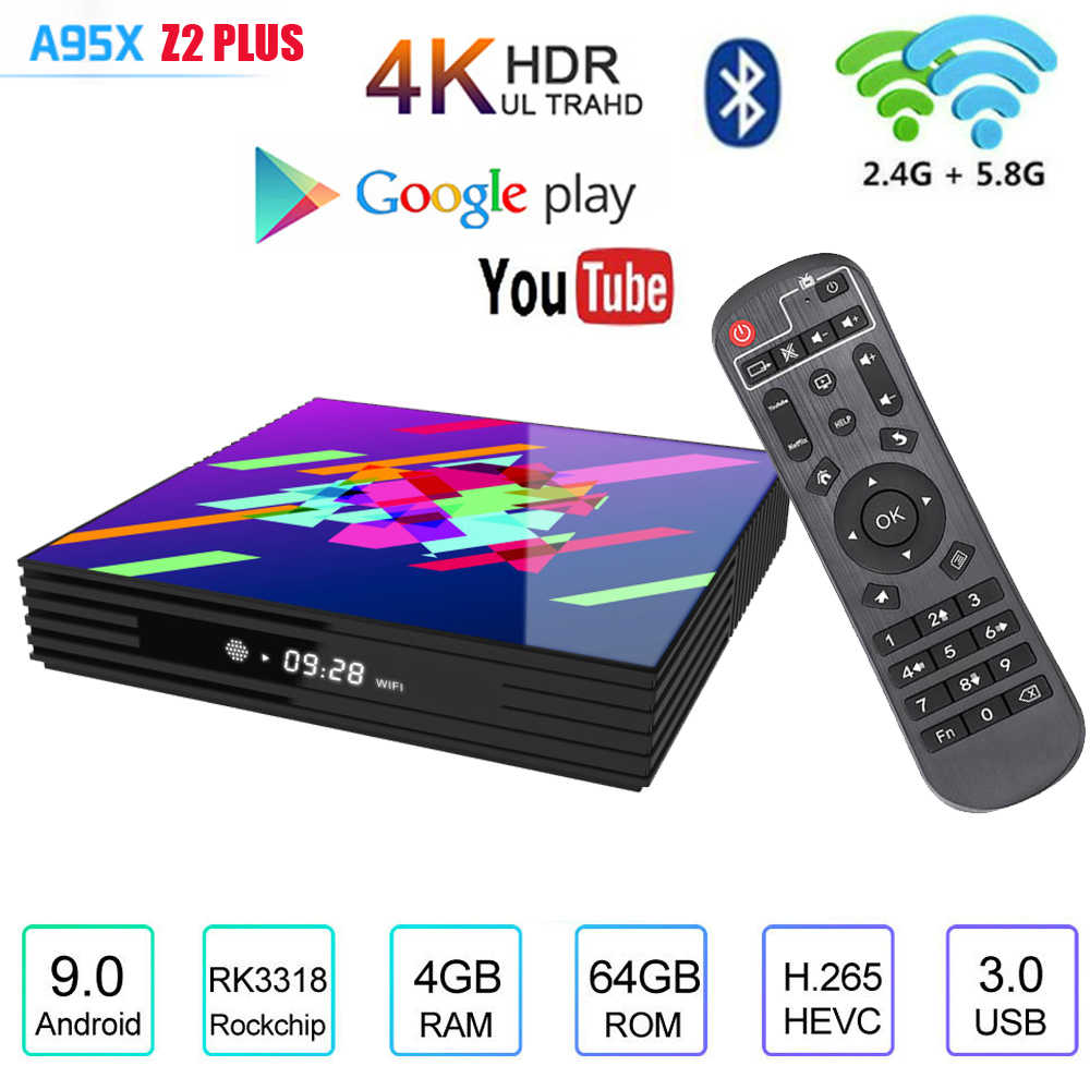 Caja de TV Android RK3318 4GB de RAM 32GB 64GB H.265 Android 9,0 Media player 4K de voz de Google asistente de Youtube caja de tv inteligente android tv