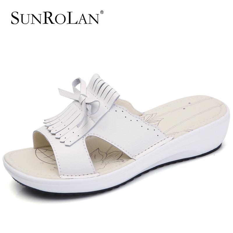 SUNROLAN  2017 Summer Beach sandals Lady slides Flat Heel Leisure Women Summer Shoes Flat Platform Sandals Wedges Shoes BM856 mikasa vxs bm beach maniac