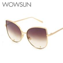 WOWSUN Fashion Women Sunglasses Alloy Frame Cat Eye Sunglasses Women Brand Designer High Quality Female Style Shades as179