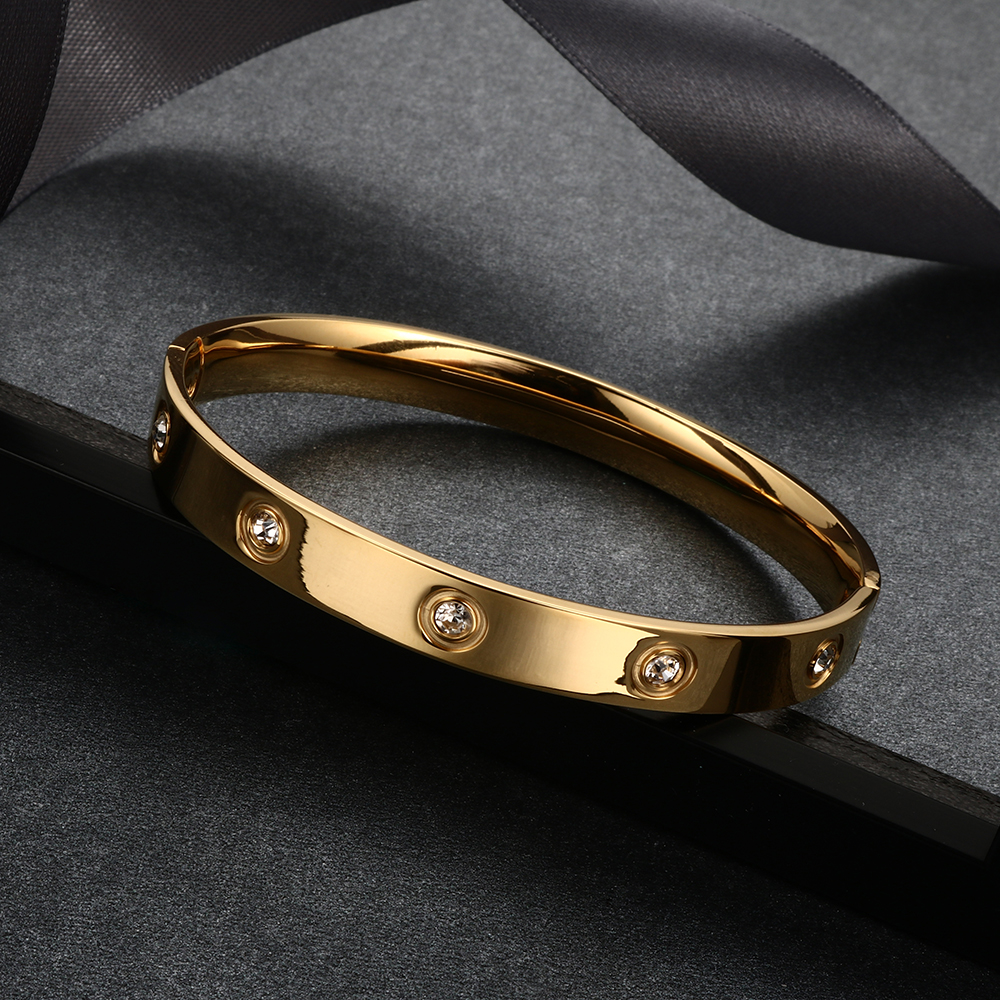 Trendy Rose Gold Love Bracelets Bangles Women Gold Color Stainless Steel Charming CZ Cuff Bracelet Lovers Luxury Brand Jewellery 18