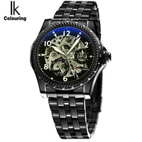 2017 IK New Fashion Men Mechanical Watches Winner Black Top Brand Luxury Steel Automatic Clock Classic