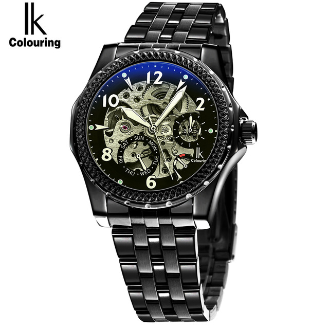 2017 IK New Fashion Men Mechanical Watches Winner Black Top Brand Luxury Steel Automatic clock Classic Skeleton Wristwatch 4166 winner watch fashion black leather strap skeleton luxury design clock men watches top luxury mechanical wristwatch gift