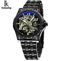 2017 IK New Fashion Men Mechanical Watches Winner Black Top Brand Luxury Steel Automatic Clock Classic