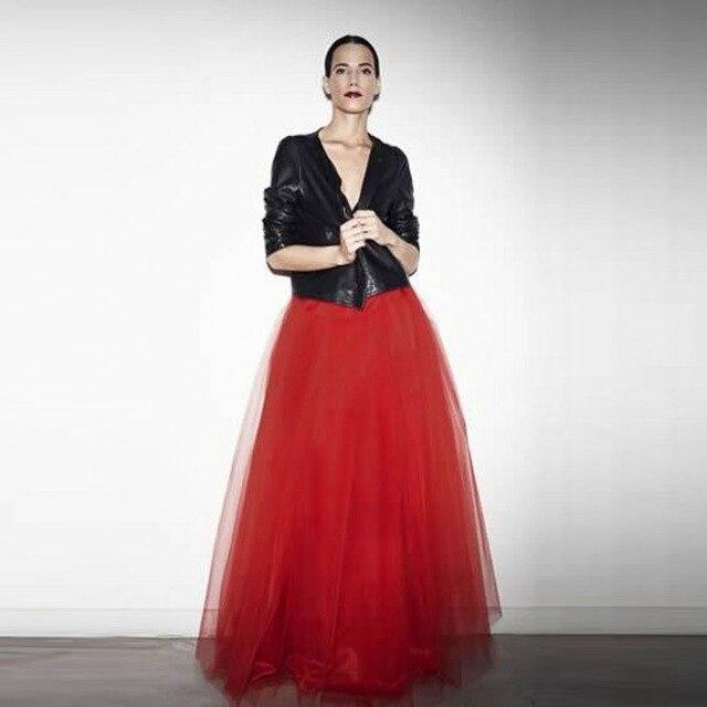 7d2d391839 Cool Fashion Red Skirts Women Personalized Elastic Waistline A Line Floor  Length Long Tulle Skirt Full Maxi Skirt