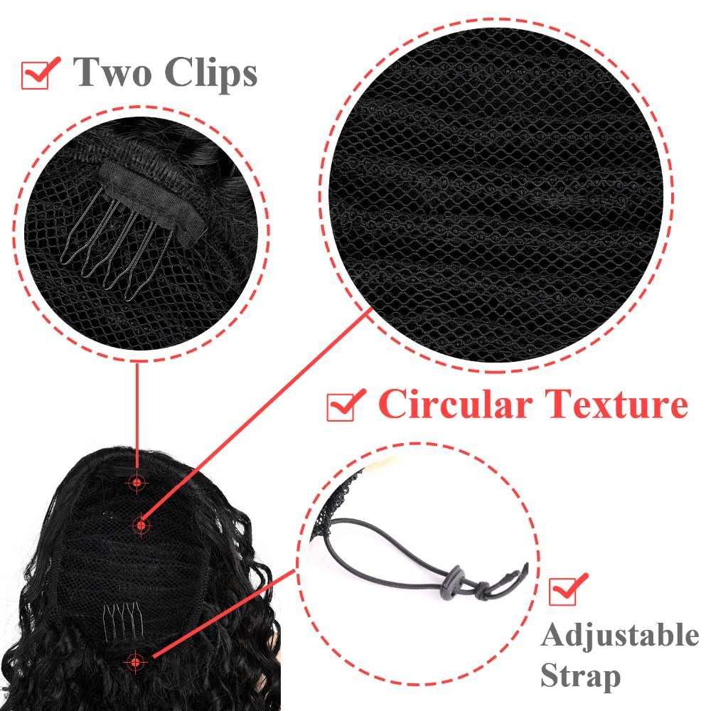 DinDong 12 ''syntetyczny klip w Warp kucyk do przedłużania włosów krótki afro perwersyjne sznurkiem kucyk African American Bun