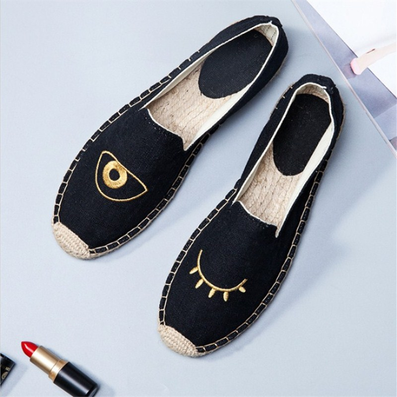 Spring and autumn 2018 new straw rope embroidery fisherman Women's shoes casual fashion all-match lazy canvas ladies shoes spring and autumn new star models with the same paragraph casual women s shoes hot fashion joker shoes breathable canvas shoes