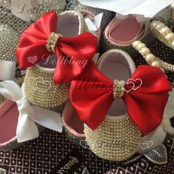 All Covered Rhinestones Bling Ballerina Sparkle cup Chain glitter Big Bow Baby Cirb Shoes Christening Stunning infant shoes 2