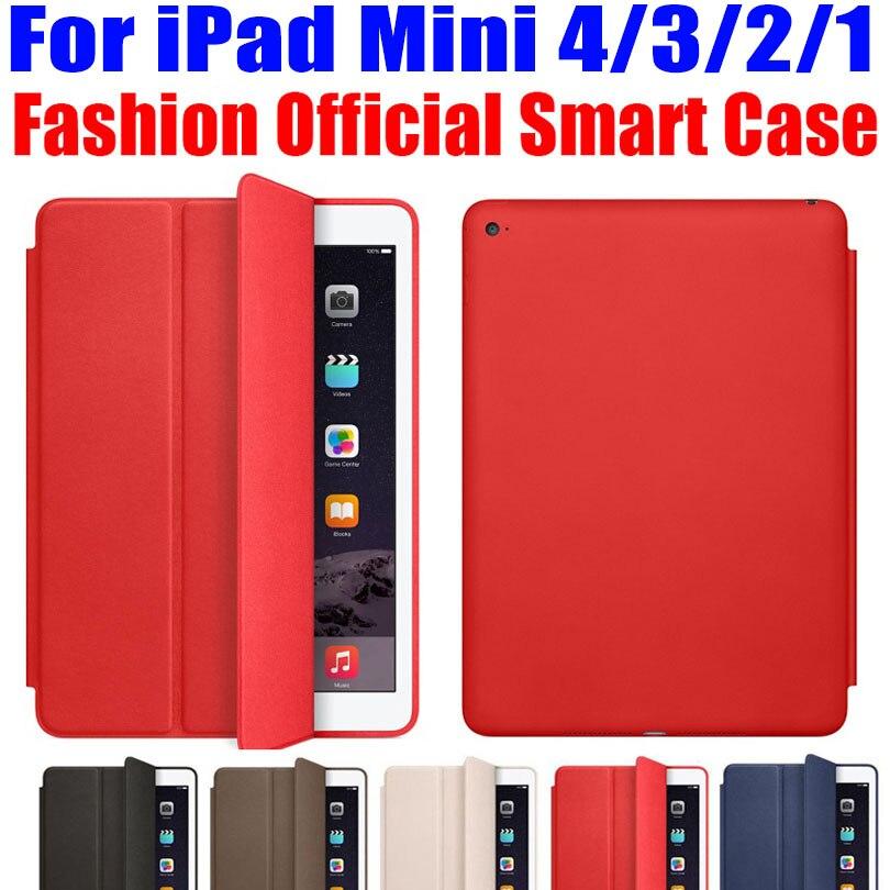 Official Design PU Leather Smart Case For Apple iPad Mini 4 3 2 1 Ultra thin Flip Smart Cover for iPad mini + Screen Film IM404