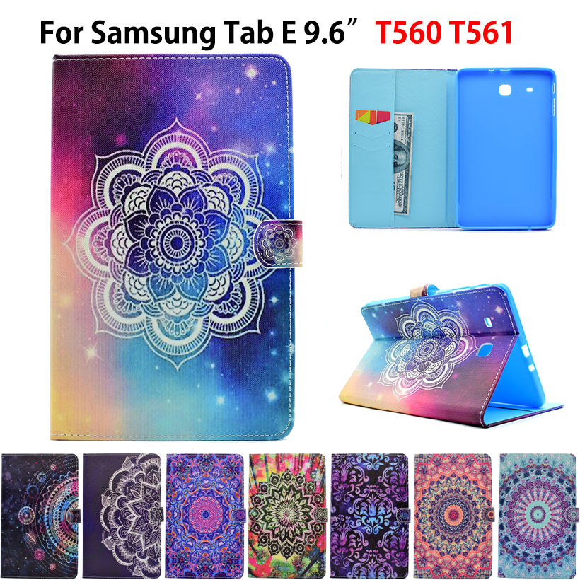 Fashion Painted Flip PU Leather For Samsung Galaxy Tab E 9.6 Case For Samsung Galaxy Tab E T560 SM-T560 T561 Cover Funda Tablet