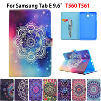 Fashion Painted Flip PU Leather For Samsung Galaxy Tab E 9 6 Case For Samsung Galaxy