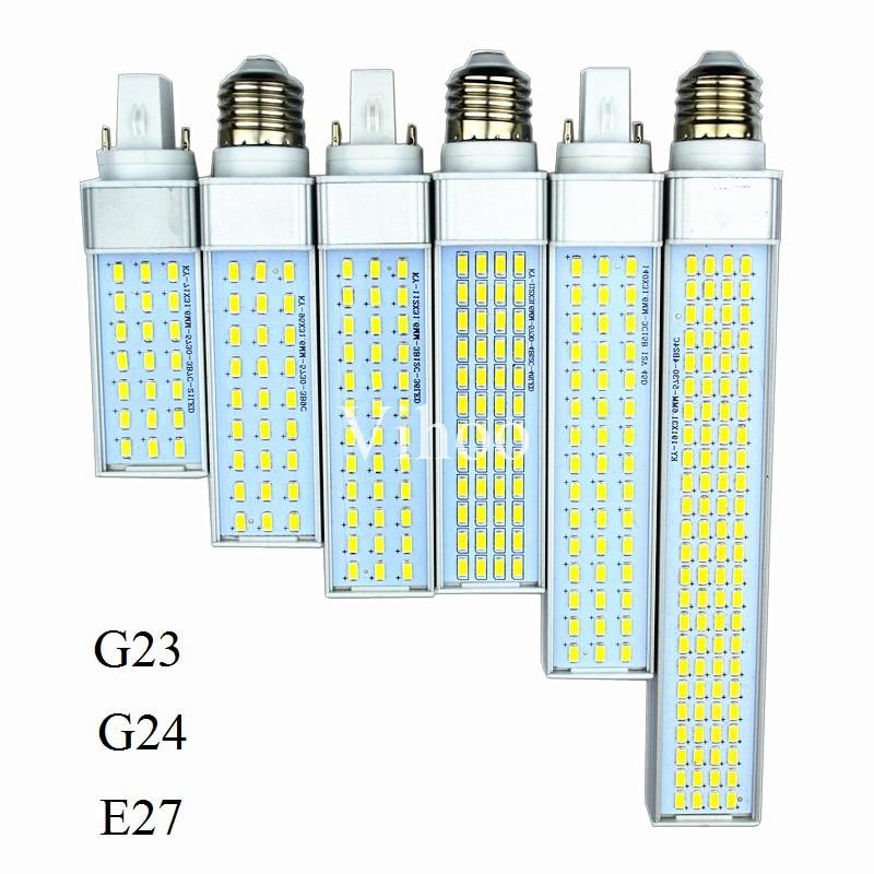Lampada G23 G24 E27 Horizontal Plug Lamp 8W 10W 12W 15W 18W 30W 85-265V AluminumLED PL Corn Bulb 180degree Spot Light Lighting