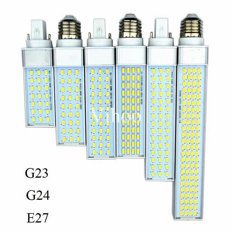 Lampada G23 G24 E27 אופקית Plug מנורת 8 w 10 w 12 w 15 w 18 w 30 w 85 -265 v AluminumLED PL תירס הנורה 180 תואר ספוט אור תאורה