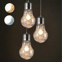 AKDSteel romantyczny wisiorek światła rocznika żelaza szkło duża żarówka LED srebrny drut Bar magazyn lampa sufitowa kreatywny u nas państwo lampy ciepłe światło w Wiszące lampki od Lampy i oświetlenie na