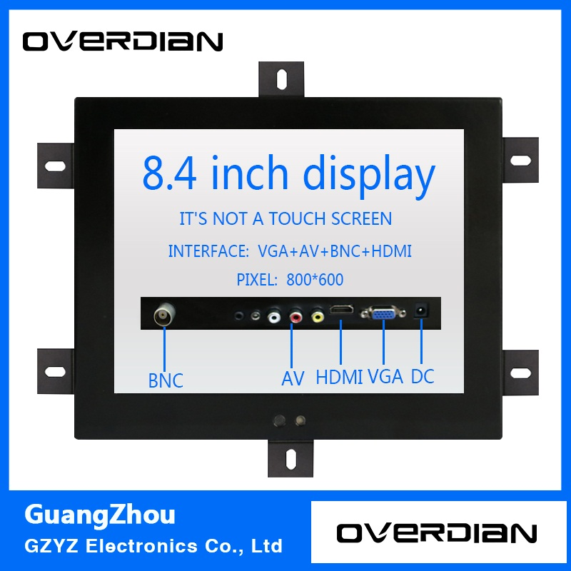 8.4/8inch VGA/BNC/HDMI/AV Interface Non-Touch Industrial Control Lcd Monitor/Display Metal Shell Fixed Ear Installation 4:3 10 4 10 vga dvi interface non touch industrial control lcd monitor display 1024 768 metal shell hanger card installation 4 3