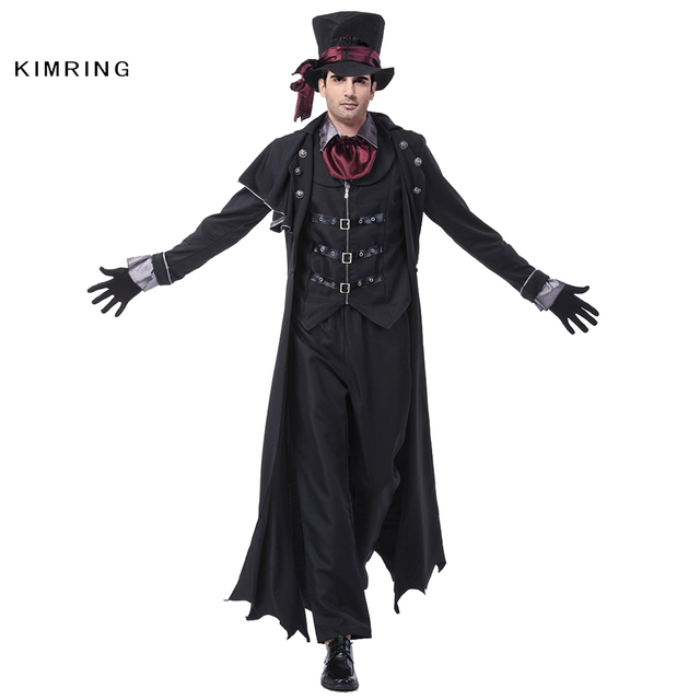 Kimring Deluxe Men Gothic Vampire Costume Adult Man Cosplay Halloween Masquerade Party Carnival