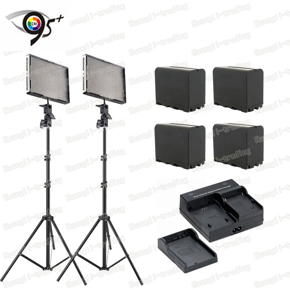 2 Aputure H528W 528 LED Bulbs RA CRI95+ Studio Video Light Light Stand + battery + Dual Charger n light 528 1slv