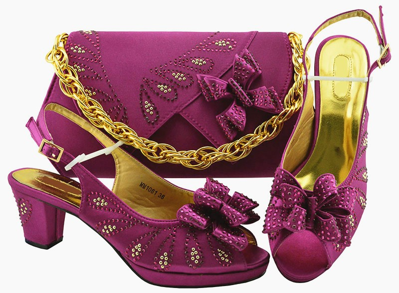 Most popular Magenta women pumps and bag set with butterfly design african shoes match handbag for dress MM1081,heel 6.5cmMost popular Magenta women pumps and bag set with butterfly design african shoes match handbag for dress MM1081,heel 6.5cm