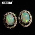 ZHHIRY Genuine Fire Opal Gem Earring Natural Stone Solid 925 Sterling Silver Real Earrings Women Fine Jewelry