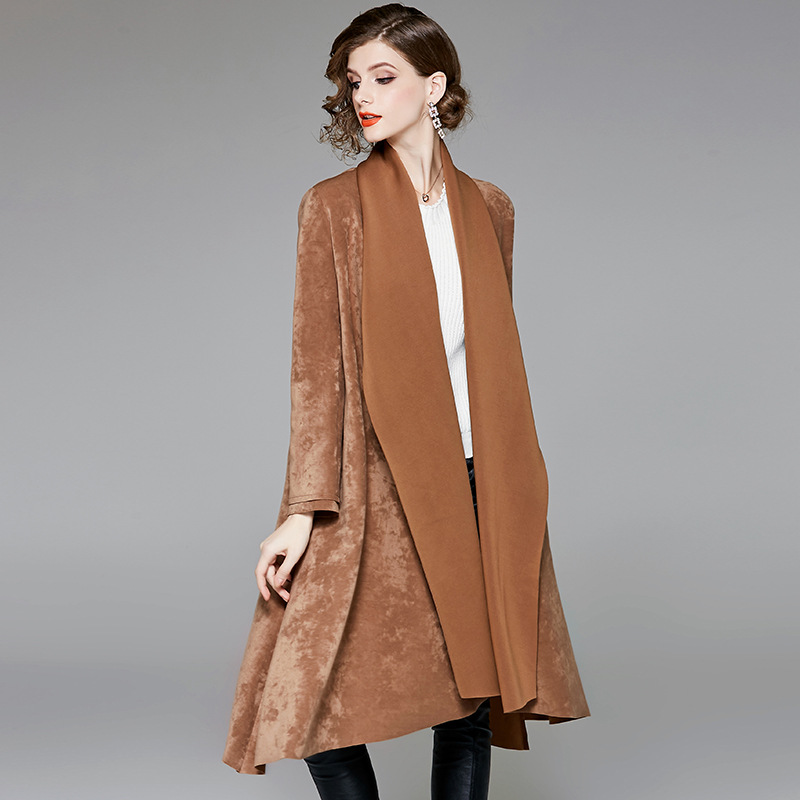 Solid turn down collar open stitch long   trench   coats 2018 new full sleeve women autumn loose   trench   coats