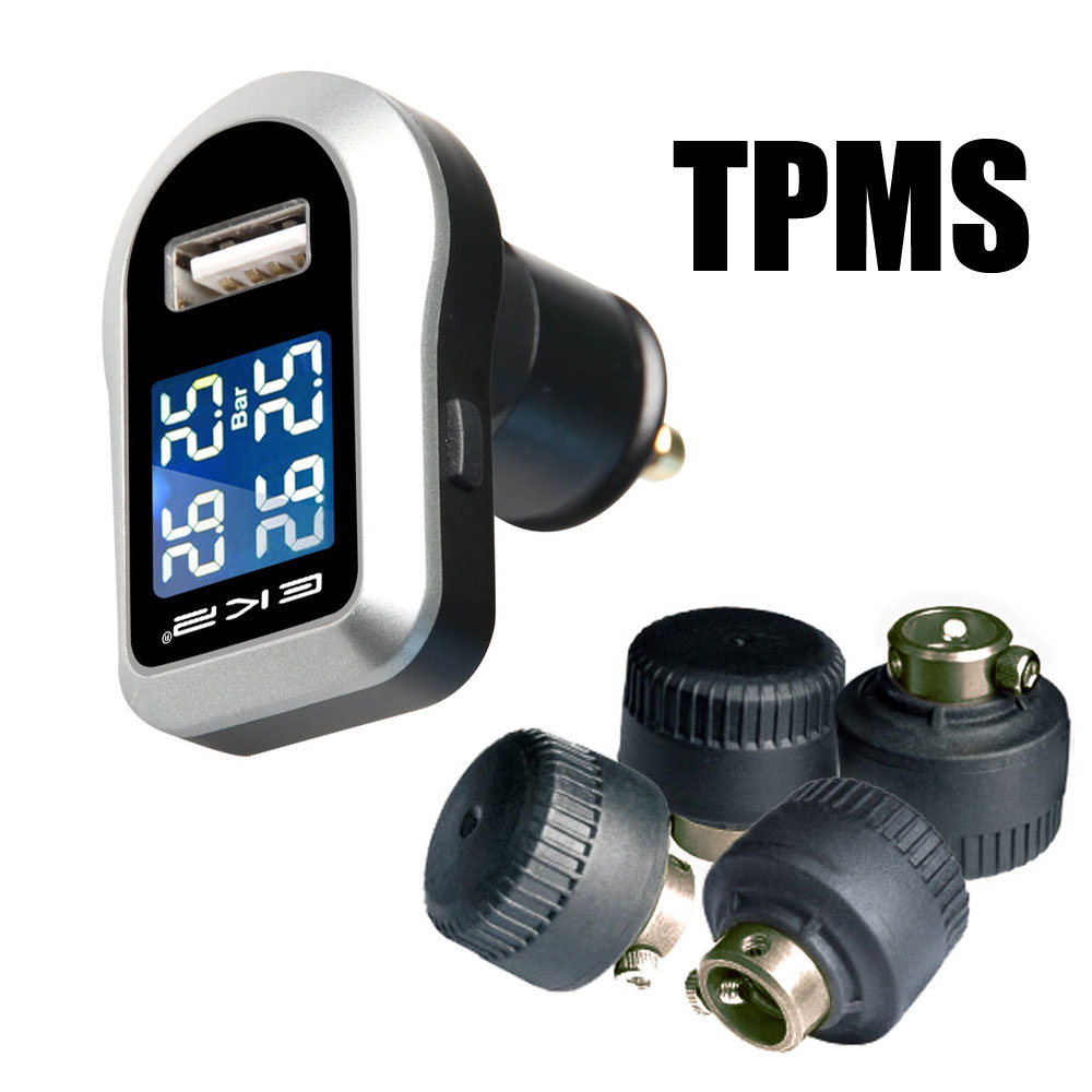 Tire Pressure Monitoring System Car TPMS with 4 pcs External Sensors Display four tires temperature or pressure simultaneously universal hotaudio dasaita built in tpms car tire pressure monitoring system car tire diagnostic tool with mini inner sensor