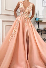 LORIE Light Orange Long Formal Evening Dress V Neck Robe De Soiree Side Split  Prom Dresses Plunging 3D Flowers Party Gowns robe de soiree new plunging v neck appliques evening dress champagne prom gowns pageant dresses vestido de noiva