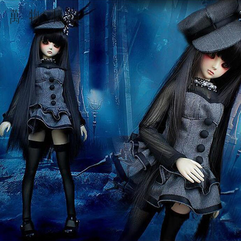 New Arrival 3pcs 1/3 1/4 BJD SD MSD Doll Clothes Cute vampire Small Black Grey Dress 1pair new fashion sd bjd doll accessories casual shoes for bjd doll 1 4 1 3