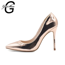 GENSHUO New Women Fashion Rose Gold Pointed Toe Slip On High Heel Shoes Women Party Prom Metallic Pointy Toe Pump For Women(China)