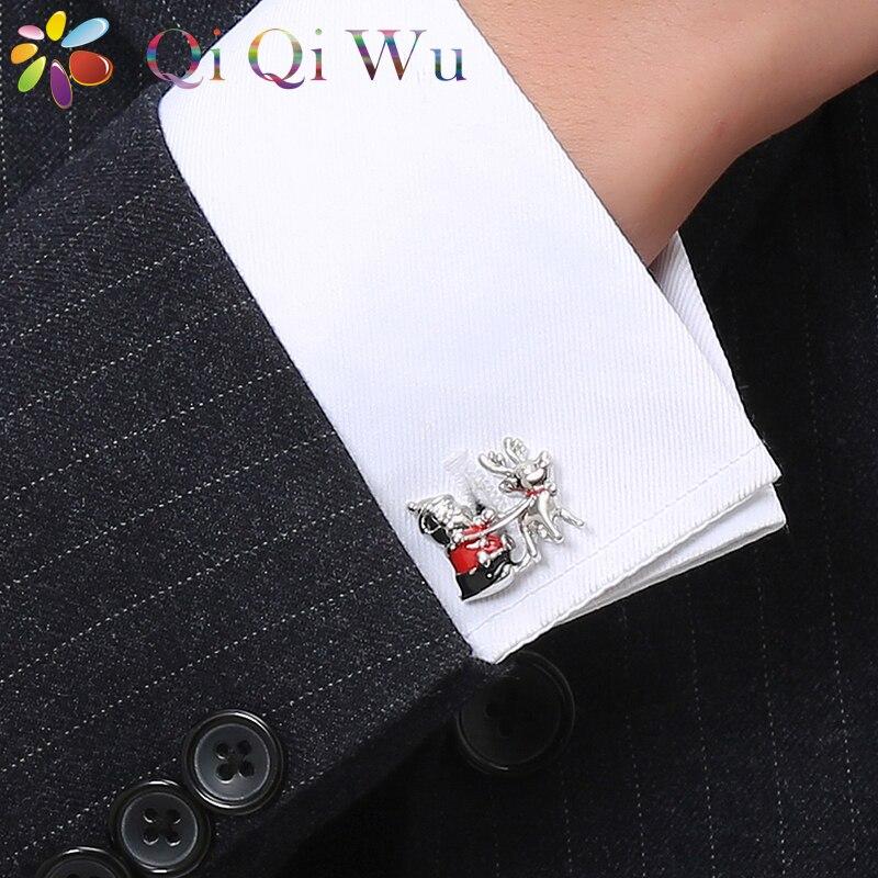 Men S Christmas Gifts Santa Claus Pull Elk French Cufflinks Shirt Milu Deer Cuff Links Interesting