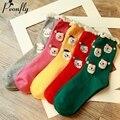 Oso polar de la navidad 5 colores patrón mujeres calcetines creativos de Algodón caliente calcetines de navidad Muy popular 5 par/lote