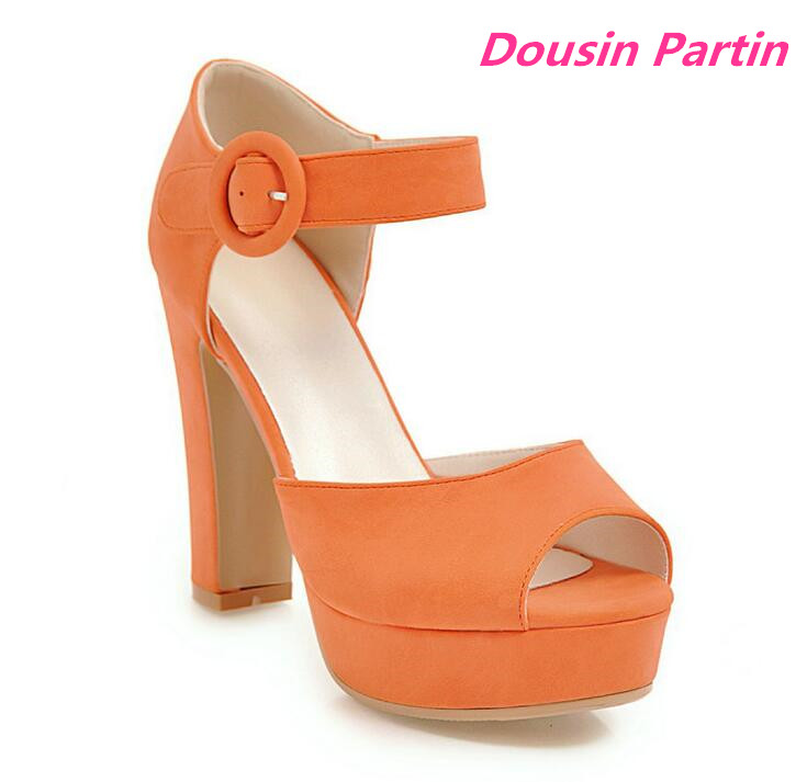 Dousin Partin Women Pumps Peep Toe Square High Heel Casual Black Sexy Fashion Women Shoes Platform