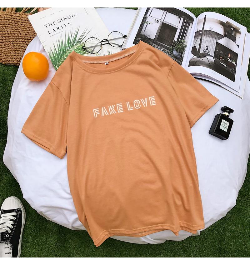 New Cotton Harajuku Letter Print Tshirt Women Summer Short Sleeve Tops & Tees Fashion Casual Korean Kpop FAKE LOVE Album T Shirt (8)