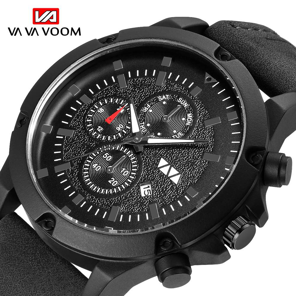 Fashion big cool VAVA VOOM men's quartz watch quality waterproof sports business black leather strap clock Wrist Relogio