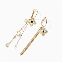XIAO YOUNG Vintage Simulated Pearl Cross Tassel Long Earrings Elegant Ab Design Fashion Jewelry For Women Party Gifts Wholesale