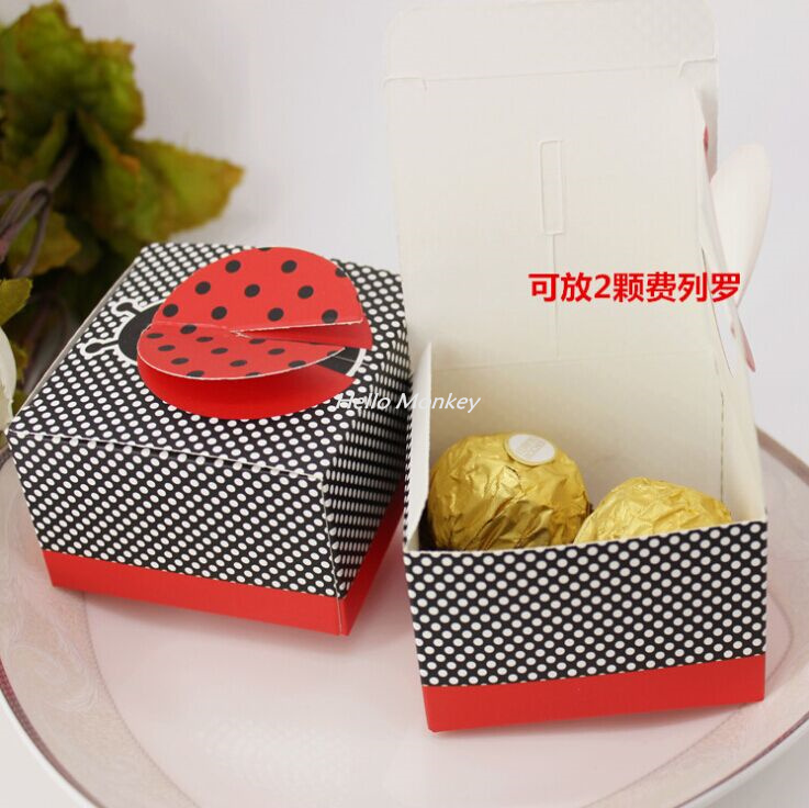 Baby Shower Favors Ladybug 50pcs/lot cute ladybird baby shower favor box ladybug baby shower