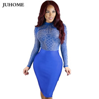 Evening Party Hippie Chic Bandage Dress Bodycon Women Dress Robe Vintage Sexy Blue Mesh Long Sleeve