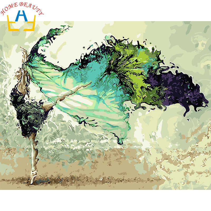 New framed digital oil painting by numbers diy home decoration craft paint on canvas unique gift picture dance green girl 6365