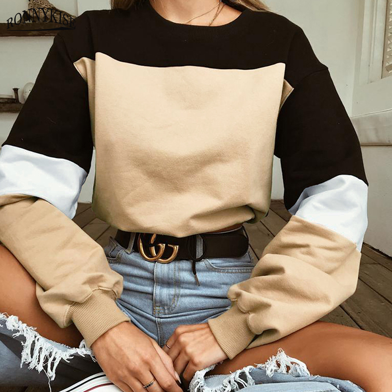 RONNYKISE 7 Colors Stitching Bandage Sexy Hoodies Women Fashion Long Sleeve O neck Cotton Short Tops Casual Sweatshirts in Hoodies amp Sweatshirts from Women 39 s Clothing