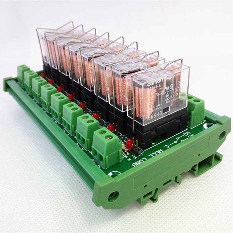 цена на DIN Rail Mount 8 SPDT 16A Power Relay Interface Module,OMRON G2R-1-E DC24V Relay.