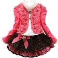Juego de la ropa de otoño invierno nuevo algodón coreano niños ropa ropa para niñas flores jacket + t-shirt + lace dress 3 unids/set