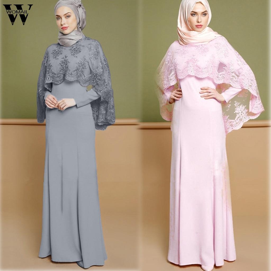 Womail Muslim Dress Women Lace Kaftan Islamic Dress Long Sleeve Elegant Muslim Party Dubai Maxi Dress Fashion 2019 A9