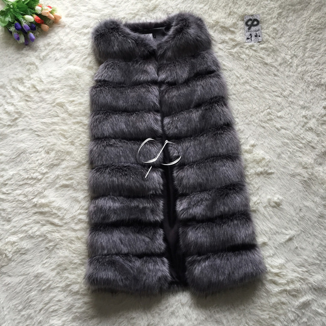 CP Brand Long Fur Vest Winter Women Luxury Faux Fox Fur Vest Furry Slim Women's Fake Fur Vest Plus Size Faux Fur High Quality