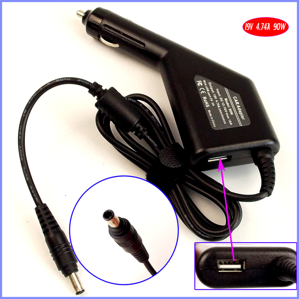 19V 4.74A 90W Laptop Car DC Adapter Charger + USB(5V 2A) for <font><b>Samsung</b></font> P230 P330 P428 P430 <font><b>P480</b></font> P530 P580 E3420 image