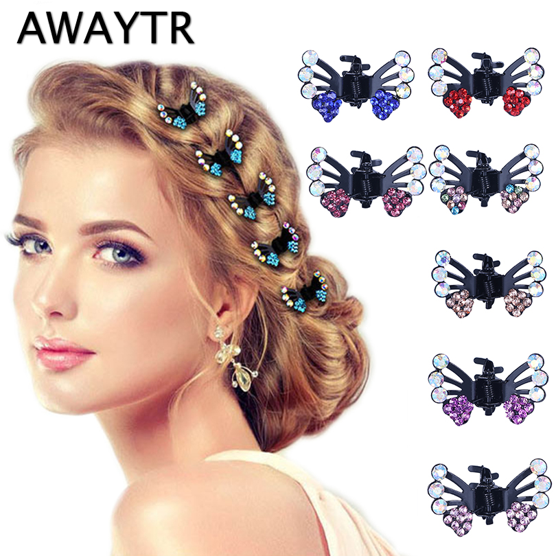 AWAYTR 6 Pcs/Lot Hair Clips for Women Fashion Girls Hair Accessories 2018 Kids Crystal Butterfly Pins Hair Claws 1 pair fashion hair accessories skeleton claws skull hand hair clip hairpin zombie punk horror bobby pins barrette for women