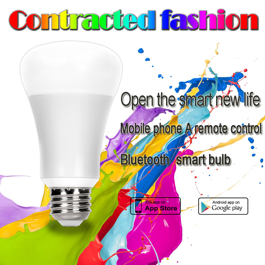 Bluetooth LED Bulb 6W E26 E27 RGBW Bluetooth 4.0 Smart LED Light Color Change Dimmable by IOS / Android APP change translated by howard goldblatt