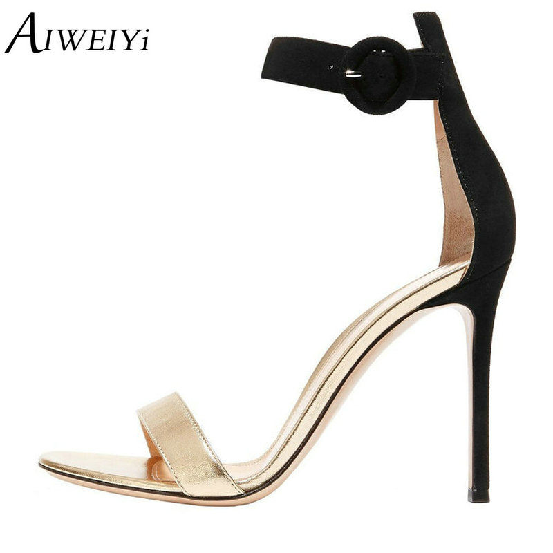 AIWEIYi Open Toe Ankle Buckle Strap High Heel Sandals Women's Summer Party Prom Dress Shoes Gladiator Sandals Wedding Shoes summer roma style women buckle strap sandals ankle strap open toe high heeled female dress party sandals shoes