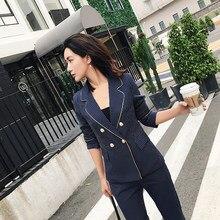 BGTEEVER moda azul oscuro rayas pantalones trajes para las mujeres v-cuello Blazer  chaqueta y pantalones lápiz 2 unidades Set Wo. 66207f4988bd