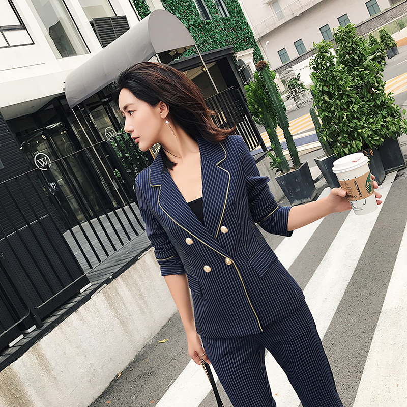 BGTEEVER moda azul oscuro rayas pantalones trajes para las mujeres v cuello Blazer  chaqueta y pantalones lápiz 2 unidades Set Work Business traje 2018 en ... d21bde5d22d