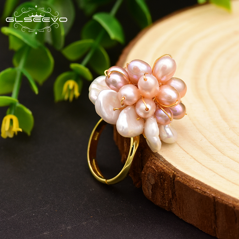 GLSEEVO 925 Sterling Silver Natural Fresh Water Pearl Flower Adjustable Ring For Women Wedding Engagement Jewelry Bijoux GR0241
