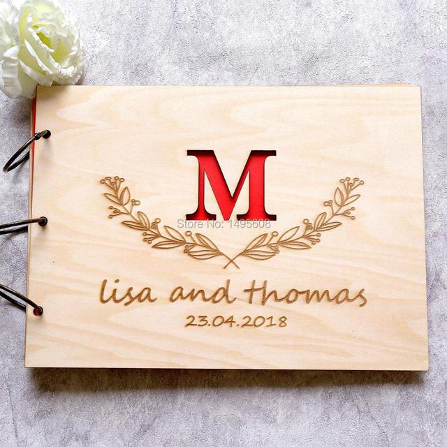 custom wood wedding guest book horizontal landscape guestbook